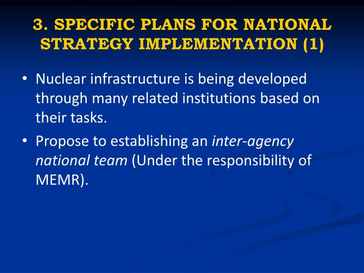3. SPECIFIC PLANS FOR NATIONAL STRATEGY IMPLEMENTATION (1)