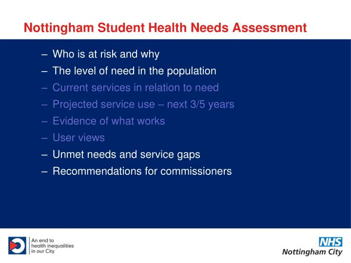 Nottingham student health needs assessment