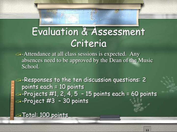 Evaluation assessment criteria