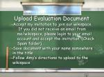 upload evaluation document