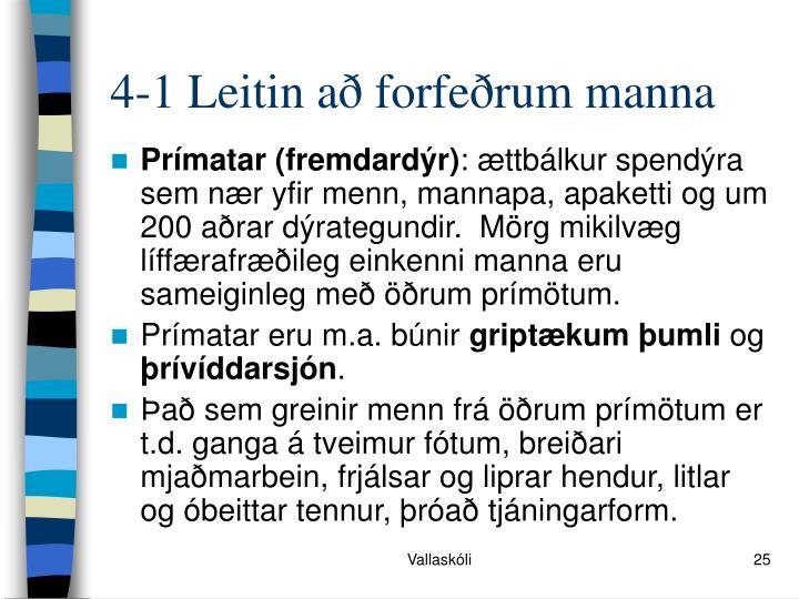 4-1 Leitin að forfeðrum manna