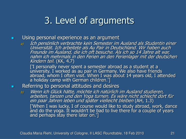 3. Level of arguments