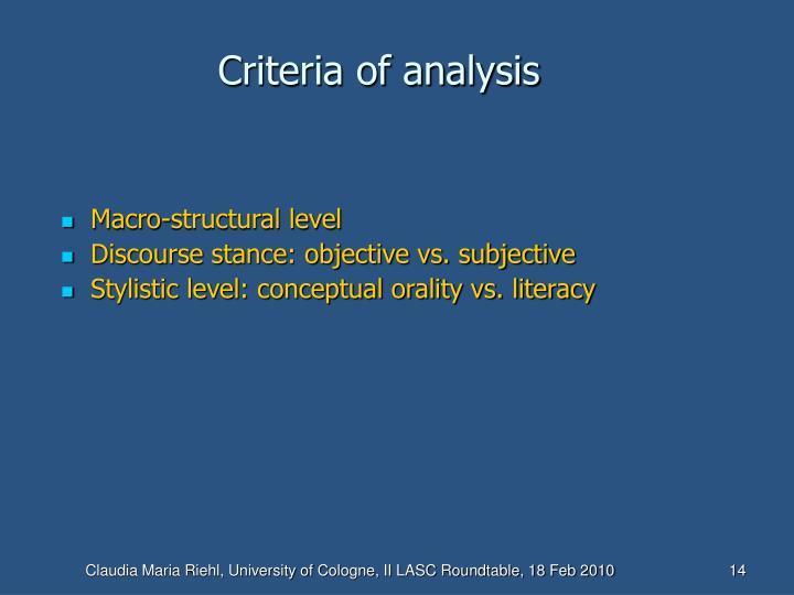 Criteria of analysis
