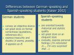 differences between german speaking and spanish speaking students kaiser 2002