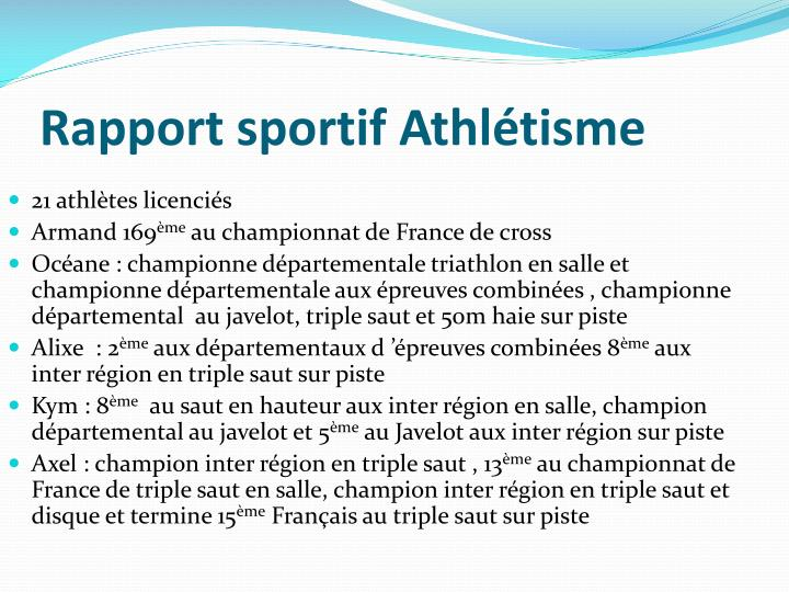 Rapport sportif Athlétisme