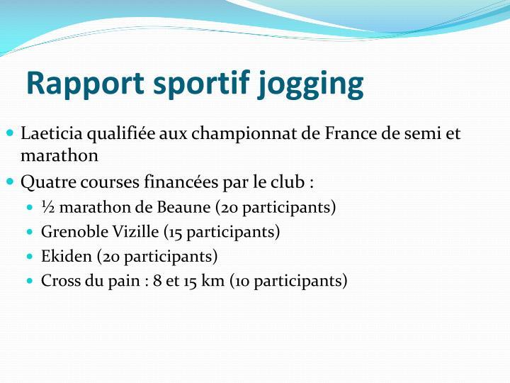 Rapport sportif jogging