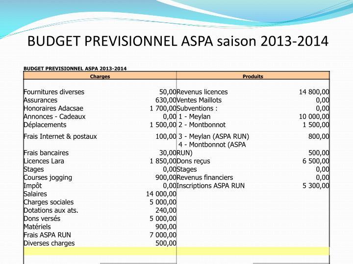 BUDGET PREVISIONNEL ASPA saison 2013-2014