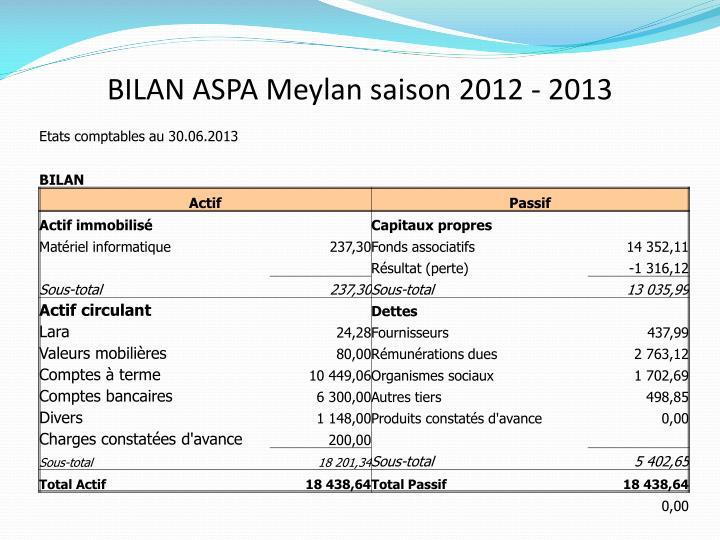BILAN ASPA Meylan saison 2012 - 2013