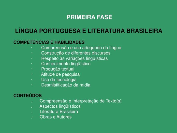LÍNGUA PORTUGUESA E LITERATURA BRASILEIRA