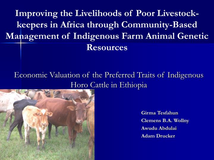 Economic valuation of the preferred traits of indigenous horo cattle in ethiopia