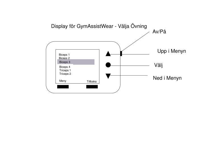 Display för GymAssistWear - Välja Övning