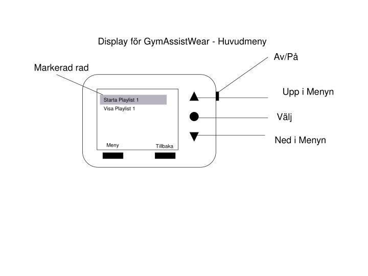 Display för GymAssistWear - Huvudmeny