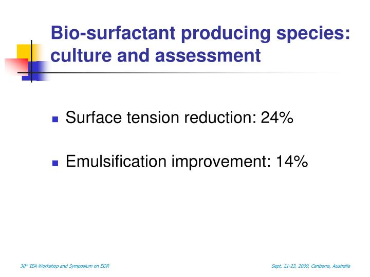 Bio-surfactant producing species: