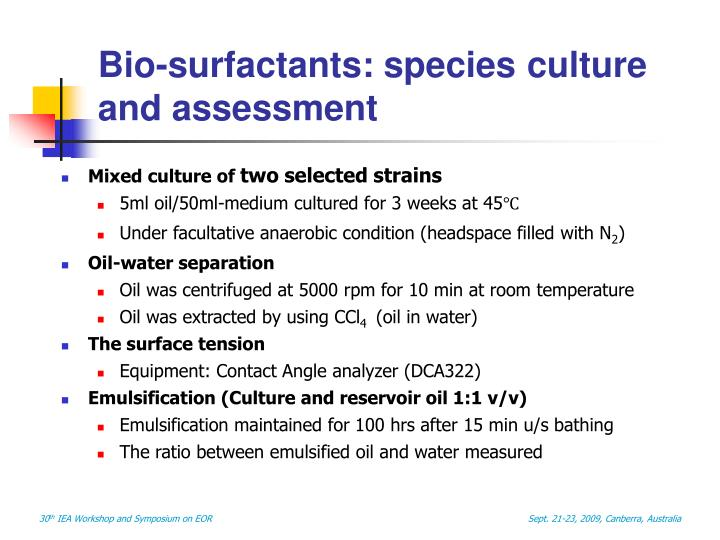Bio-surfactants: species