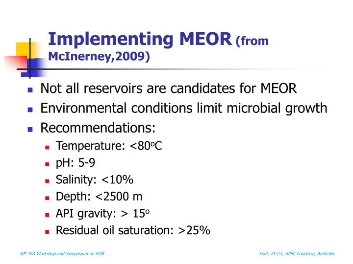 Implementing MEOR