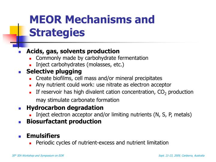 MEOR Mechanisms and Strategies
