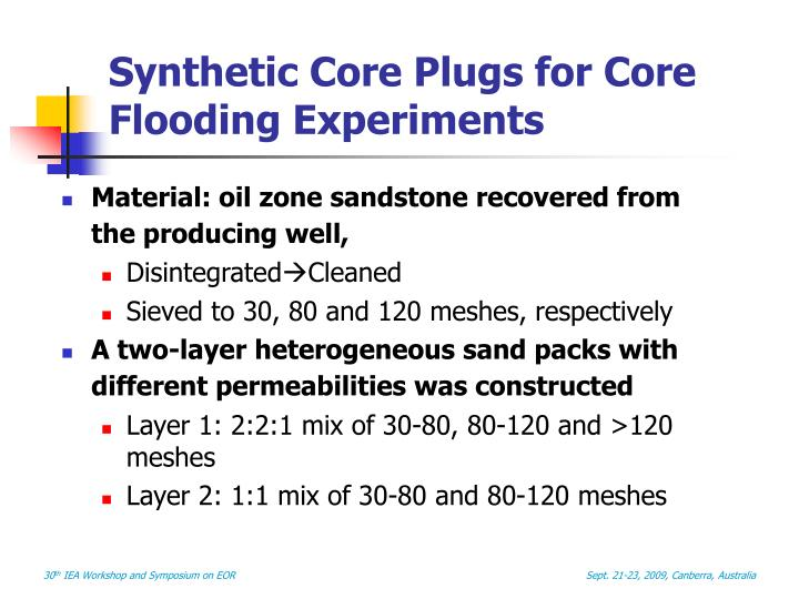 Synthetic Core Plugs for Core Flooding Experiments