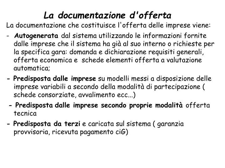 La documentazione d'offerta