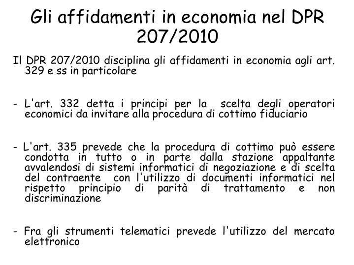 Gli affidamenti in economia nel DPR 207/2010
