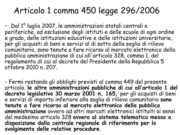 Articolo 1 comma 450 legge 296/2006