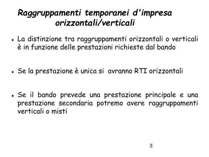 Raggruppamenti temporanei d'impresa orizzontali/verticali