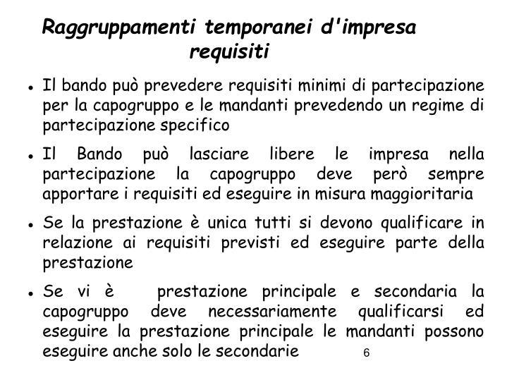 Raggruppamenti temporanei d'impresa requisiti