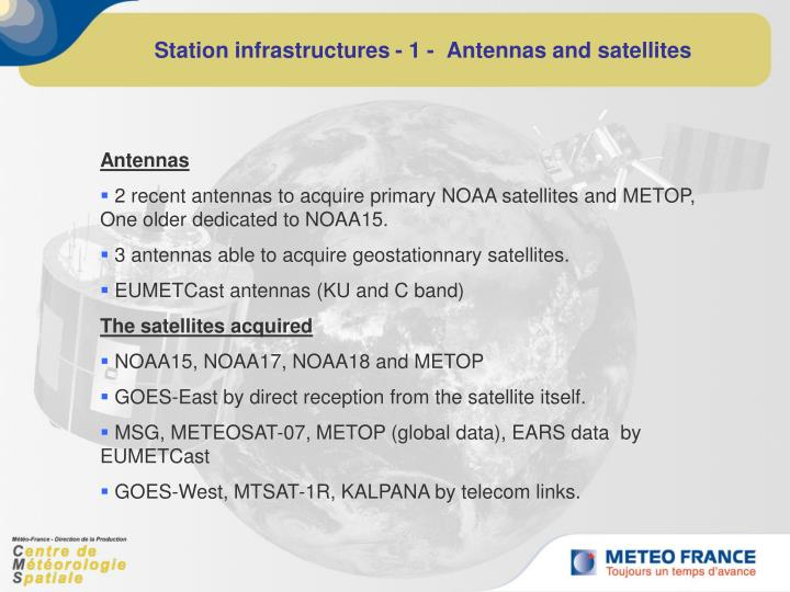 Station infrastructures 1 antennas and satellites