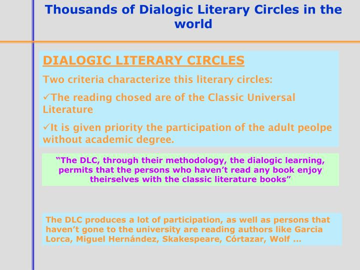 Thousands of Dialogic Literary Circles in the world