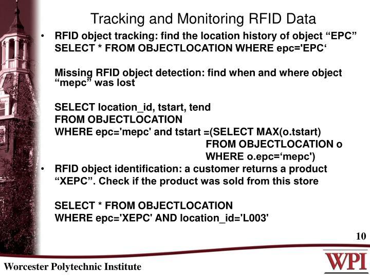 Tracking and Monitoring RFID Data