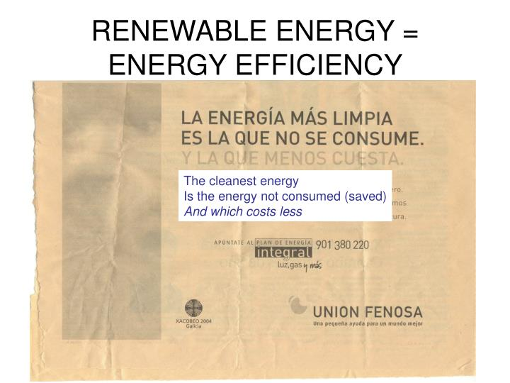 RENEWABLE ENERGY = ENERGY EFFICIENCY