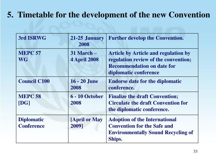 5.  Timetable for the development of the new Convention