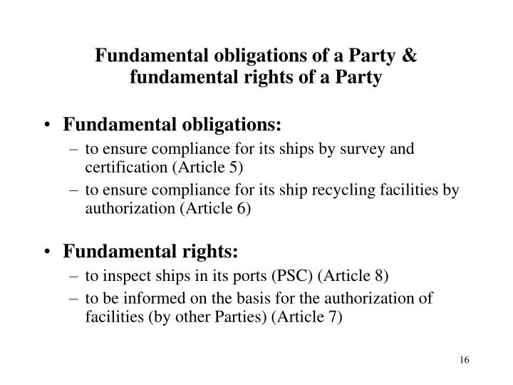 Fundamental obligations of a Party &
