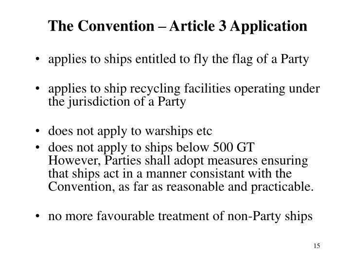 The Convention – Article 3 Application