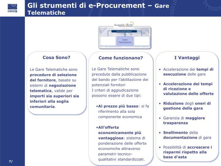 Gli strumenti di e-Procurement –