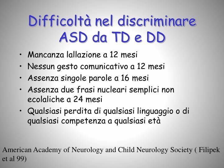 Difficoltà nel discriminare ASD da TD e DD