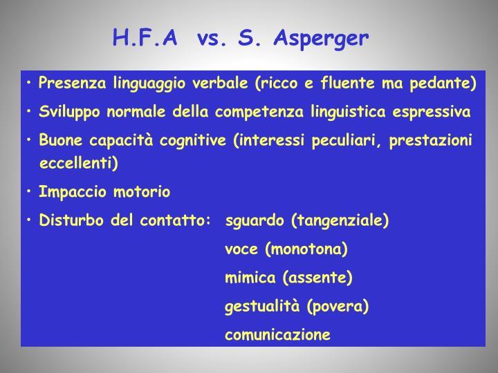 H.F.A  vs. S. Asperger