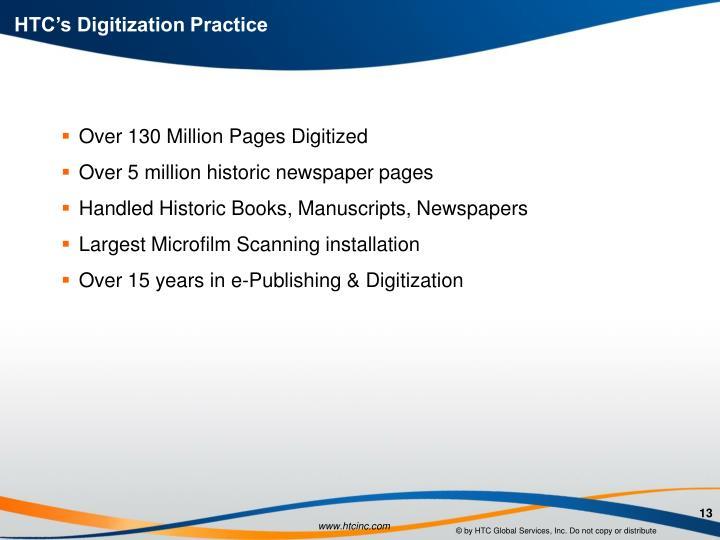 HTC's Digitization Practice