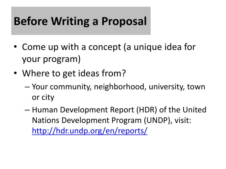 Before Writing a Proposal