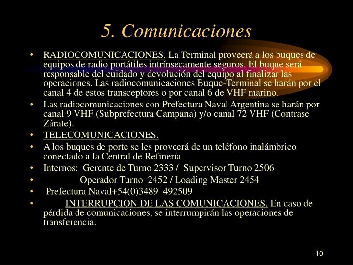 5. Comunicaciones