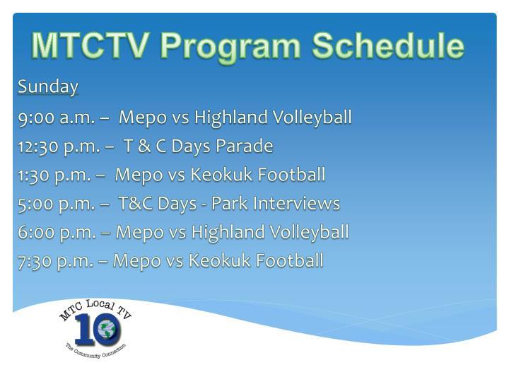 MTCTV Program Schedule