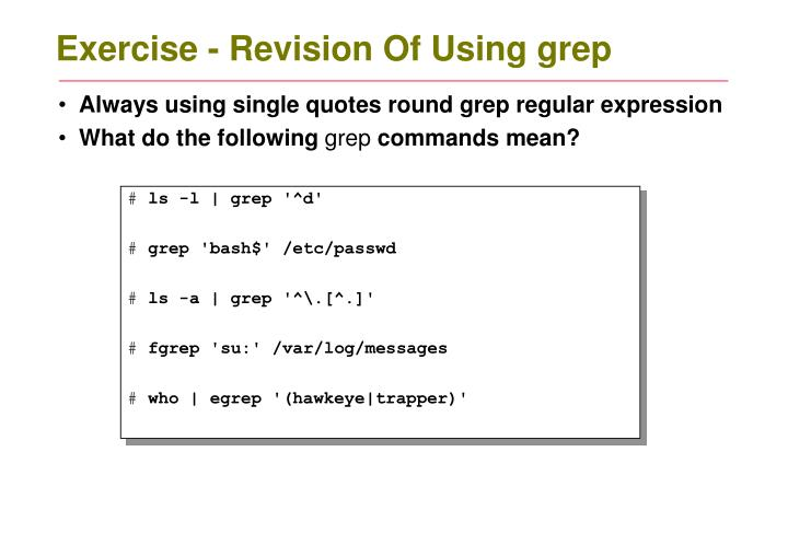 Exercise - Revision Of Using grep