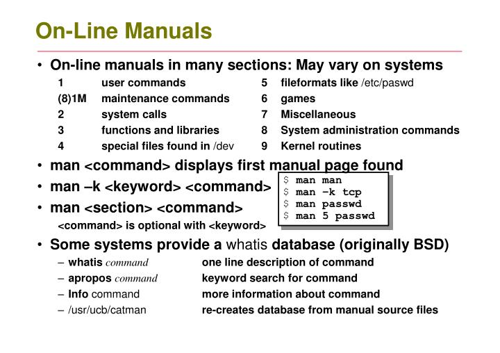 On line manuals