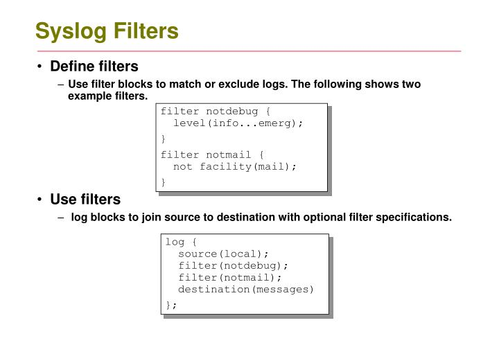Syslog Filters