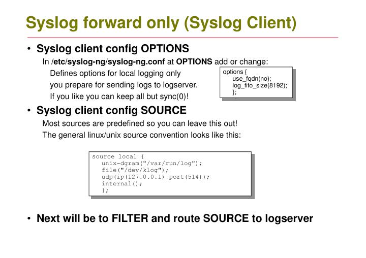 Syslog forward only (Syslog Client)