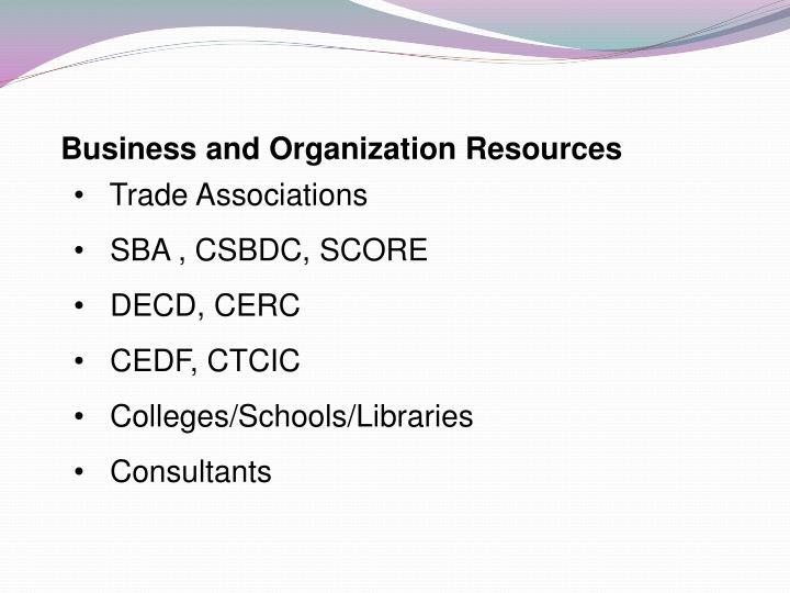 Business and Organization Resources