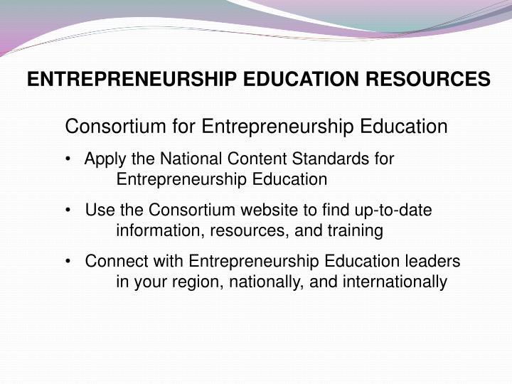 ENTREPRENEURSHIP EDUCATION RESOURCES