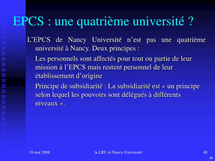 EPCS : une quatrième université ?
