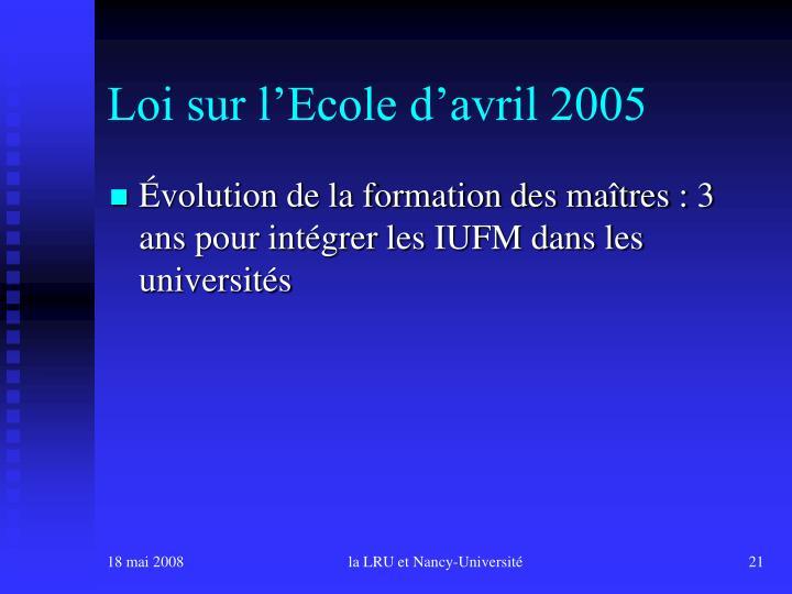 Loi sur l'Ecole d'avril 2005