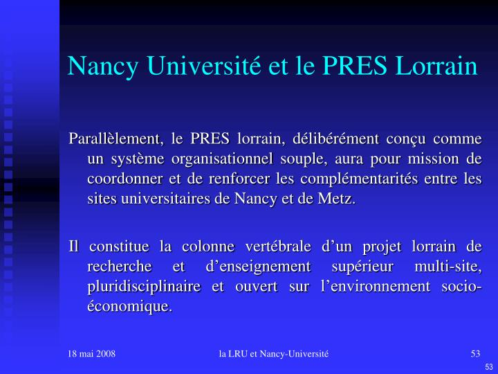 Nancy Université et le PRES Lorrain