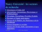 nancy universit les secteurs de recherche